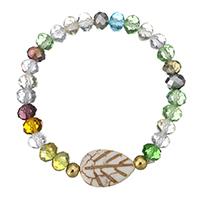 Кристалл браслеты, Кристаллы, с Белая ракушка & нержавеющая сталь, плакирован золотом, Женский & граненый, 21x15mm, 6mm, Продан через Приблизительно 7 дюймовый Strand