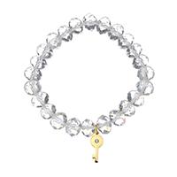 Кристалл браслеты, нержавеющая сталь, с Кристаллы, Ключ, плакирован золотом, браслет-оберег & Женский & граненый, 7x17mm, 8x10mm, Продан через Приблизительно 7 дюймовый Strand