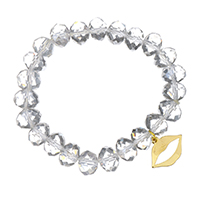 Кристалл браслеты, нержавеющая сталь, с Кристаллы, Помада, плакирован золотом, браслет-оберег & Женский & граненый, 17.5x12.5mm, 8x10mm, Продан через Приблизительно 6 дюймовый Strand