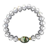 Кристалл браслеты, нержавеющая сталь, с Раковина морское ушко & Кристаллы, плакирован золотом, Женский & граненый, 15x10.5mm, 8x10mm, Продан через Приблизительно 6 дюймовый Strand