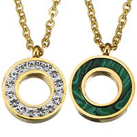 Ожерелье-пара, нержавеющая сталь, с клей & малахит, с 2Inch наполнитель цепи, Кольцевая форма, плакирован золотом, различные материалы для выбора & Мужская & Овальный цепь, 16x20mm, 2mm, длина:Приблизительно 16 дюймовый, 10пряди/Лот, продается Лот