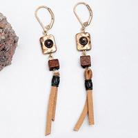 цинковый сплав Основа для сережки, с шерстяной шнур & деревянный, нержавеющая сталь гвоздик, плакированный цветом под старое золото, расточительность, не содержит свинец и кадмий, 78mm, продается Пара