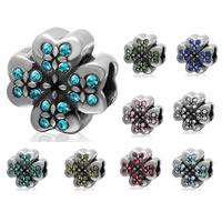 Бусины Европейская стиль из серебра 925 пробы, Серебро 925 пробы, Форма цветка, с 925 логотипом & со стразами & чернеют, Много цветов для выбора, 10.5x6.4mm, отверстие:Приблизительно 4.6mm, продается PC