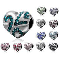 Бусины Европейская стиль из серебра 925 пробы, Серебро 925 пробы, Сердце, с 925 логотипом & со стразами & чернеют, Много цветов для выбора, 11.6x10.3x8.8mm, отверстие:Приблизительно 4.5mm, продается PC