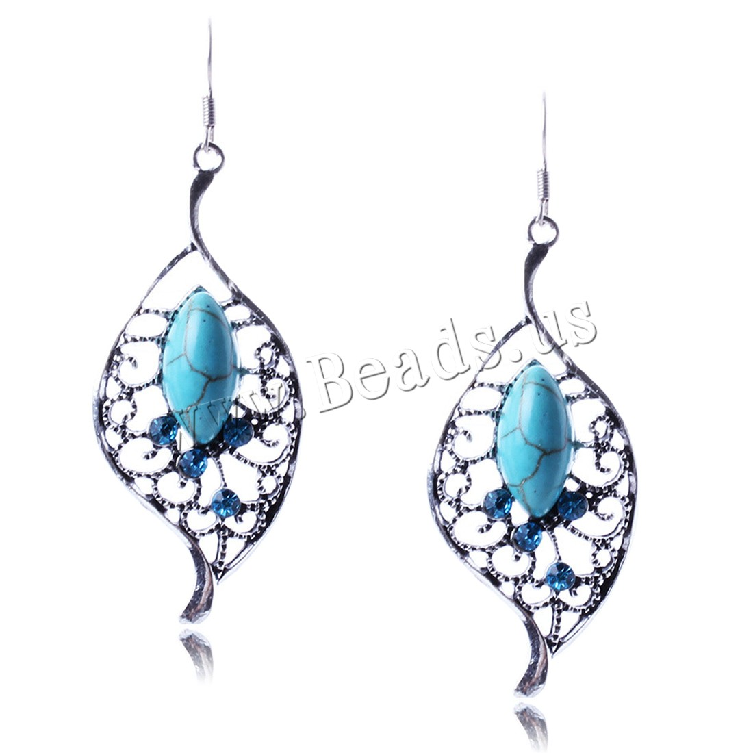 Buy Turquoise Earring Zinc Alloy iron earring hook antique silver color plated woman & rhinestone lead & cadmium free 55mm Sold Pair