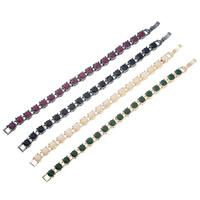 цинковый сплав Браслет Chain, с Канифольные кристаллы, нержавеющая сталь пряжка, Круглая, Другое покрытие, Женский, не содержит свинец и кадмий, 7mm, Продан через Приблизительно 6.5 дюймовый Strand