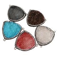 Природного кварца Разъем, Ледниковый кварц-агат, с клей & Латунь, плакирован серебром, природный & druzy стиль & разнообразный & 1/1 петля, 35-40x30-36x8-12mm, отверстие:Приблизительно 1.5mm, продается PC