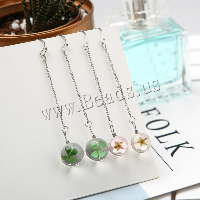 Buy Zinc Alloy Earrings Dried Flower & Glass iron earring hook platinum color plated colors choice lead & cadmium free 85mm Sold Pair