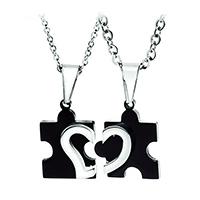 нержавеющая сталь Puzzle Пара Ожерелье, Другое покрытие, Мужская & с рисунками сердца & Овальный цепь, 15x23mm, 18x23mm, длина:Приблизительно 17 дюймовый, Приблизительно 19.5 дюймовый, продается Пара