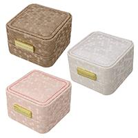 Бархатная коробочка для кольца, Искусственная кожа, с Бархат & цинковый сплав, Прямоугольная форма, , плакирован золотом, Много цветов для выбора, не содержит никель, свинец, 70x73x49mm, 12ПК/сумка, продается сумка