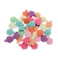 акриловые кулоны, Акрил, Форма цветка, разноцветный, 13x16x4mm, отверстие:Приблизительно 1mm, 500G/сумка, продается сумка