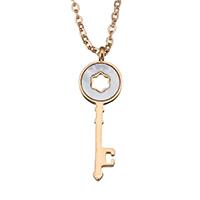 Ожерелье из ракушки, нержавеющая сталь, с Белая ракушка, с 2.5Inch наполнитель цепи, Ключ, плакирован золотом, Овальный цепь & Женский, 8x25mm, 1mm, Продан через Приблизительно 16 дюймовый Strand