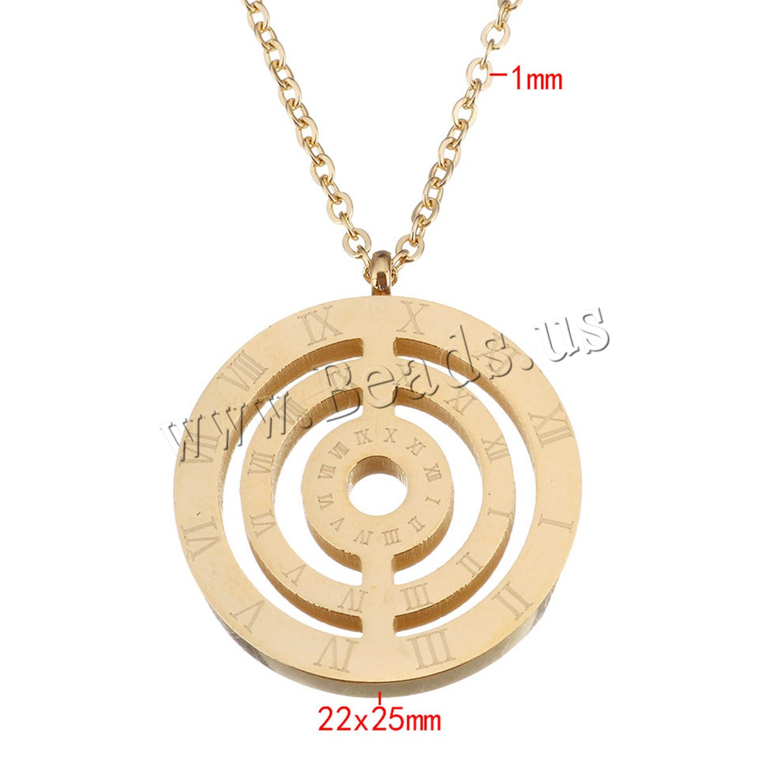 Buy Stainless Steel Jewelry Necklace gold color plated roman number & oval chain & woman 22x25mm 1mm Length:Approx 18 Inch Sold Lot