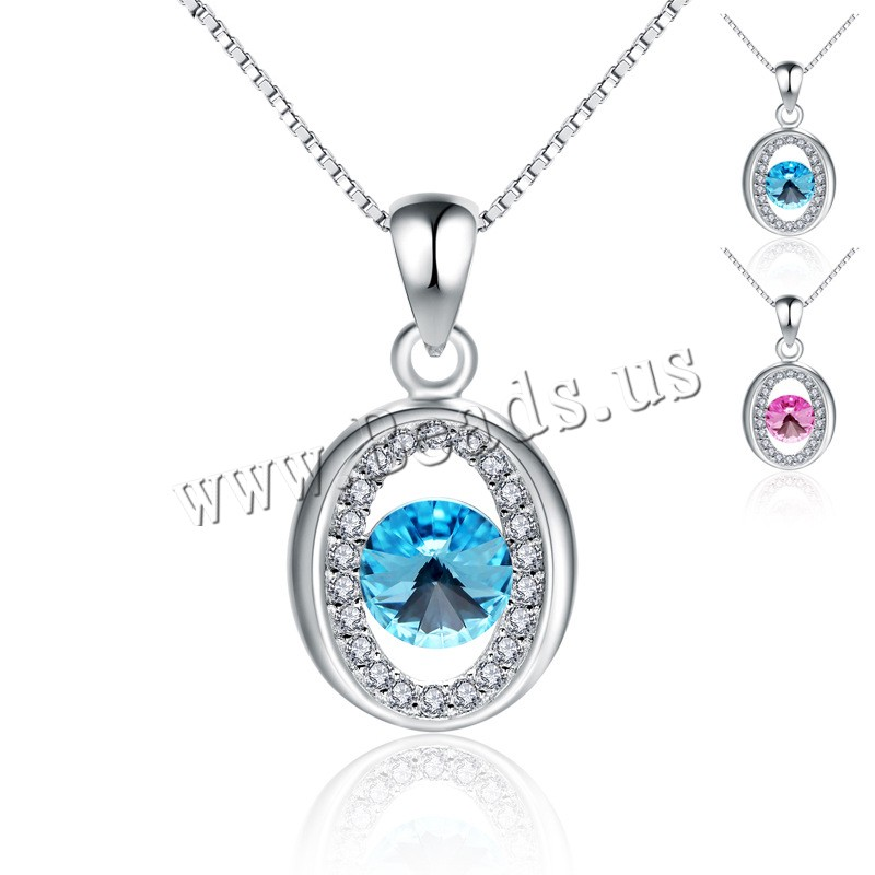 Buy Cubic Zirconia Micro Pave 925 Sterling Silver Pendant Crystal Flat Oval platinum plated micro pave cubic zirconia & faceted & hollow colors choice 11x16mm Hole:Approx 4-10mm Sold Lot