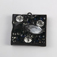 Подвески из кристаллов, цинковый сплав, с Кристаллы, Прямоугольная форма, покрыт лаком, со стразами, 36x40mm, 100ПК/Лот, продается Лот