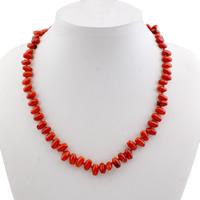 Коралловые ожерелья, Натуральный коралл, железо Замок-карабин, Цилиндрическая форма, 9.5x5.5mm, отверстие:Приблизительно 1mm, длина:Приблизительно 15.3 дюймовый, 10пряди/сумка, продается сумка