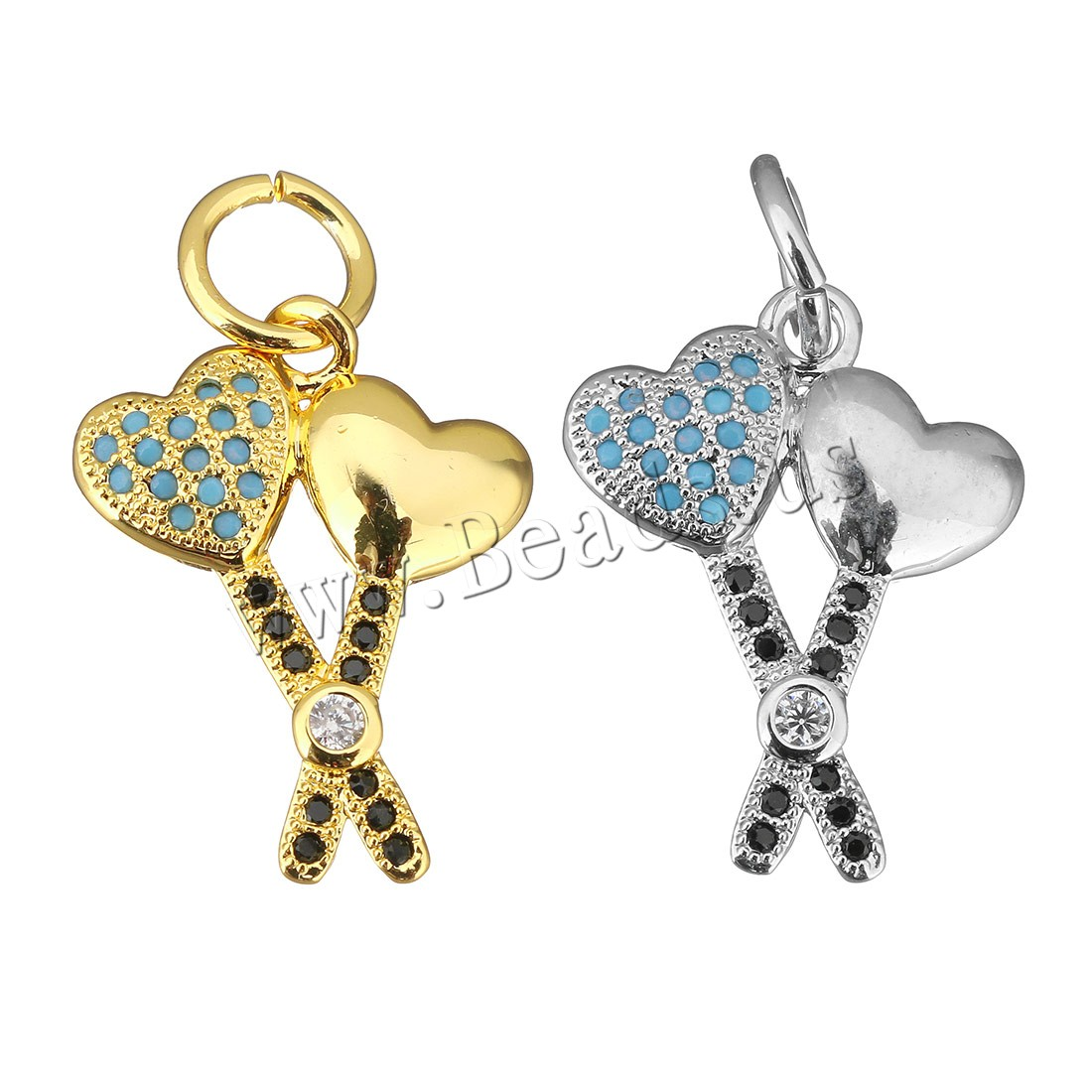 Buy Cubic Zirconia Micro Pave Brass Pendant Heart plated micro pave cubic zirconia colors choice 16x21x3mm Hole:Approx 5mm 1 Sold Lot