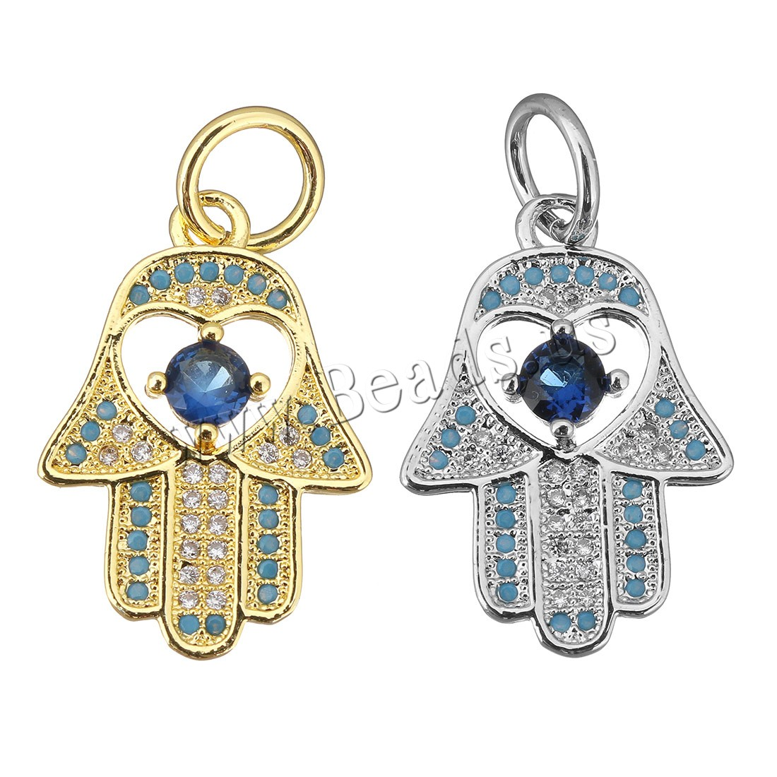 Buy Cubic Zirconia Micro Pave Brass Pendant Hamsa plated micro pave cubic zirconia colors choice 15x22x3mm Hole:Approx 5mm 1 Sold Lot