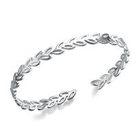 Серебро 925 пробы браслет-манжеты, Листок, покрытый платиной, Женский, 6.5mm, внутренний диаметр:Приблизительно 59mm, 3ПК/Лот, продается Лот