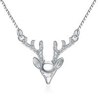 Серебряное ожерелье, Серебро 925 пробы, с 2.3inch наполнитель цепи, Олень, покрытый платиной, Цепной ящик & Женский, 23x20mm, длина:Приблизительно 16 дюймовый, 3пряди/Лот, продается Лот