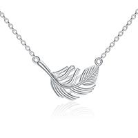 Серебряное ожерелье, Серебро 925 пробы, с 2.5inch наполнитель цепи, Форма пера, покрытый платиной, Овальный цепь & Женский, 21x16mm, длина:Приблизительно 17.5 дюймовый, 3пряди/Лот, продается Лот