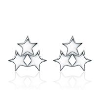 Серьги из серебра, Серебро 925 пробы, Звезда, покрытый платиной, Женский, 9x8mm, 3Пары/Лот, продается Лот