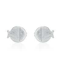 Серьги из серебра, Серебро 925 пробы, Рыба, покрытый платиной, Матовый металлический эффект & Женский, 9x7mm, 3Пары/Лот, продается Лот