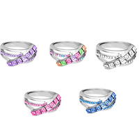 Австрийский хрусталь палец кольцо, цинковый сплав, с Австрийский хрусталь, Платиновое покрытие платиновым цвет, Женский & граненый, Много цветов для выбора, не содержит свинец и кадмий, 20mm, размер:6-8, продается PC