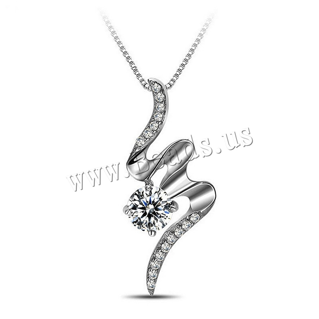 Buy Cubic Zircon Micro Pave 925 Sterling Silver Necklace platinum plated box chain & micro pave cubic zirconia & woman 10x18mm Sold Per Approx 17.5 Inch Strand