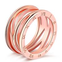 Кольца из латуни, Латунь, плакирование настоящим розовым золотом, с римская цифра & разный размер для выбора & Женский & отверстие, не содержит никель, свинец, 11.5mm, продается PC