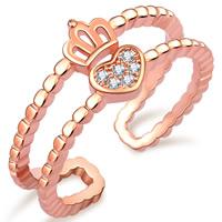 Латунь Манжеты палец кольцо, Корона, плакирование настоящим розовым золотом, инкрустированное микро кубического циркония & Женский, не содержит никель, свинец, 5.5mm, размер:5-10, продается PC