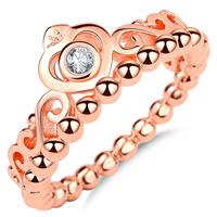 Кольца из латуни, Латунь, Корона, плакирование настоящим розовым золотом, разный размер для выбора & инкрустированное микро кубического циркония & Женский, не содержит никель, свинец, 10mm, продается PC