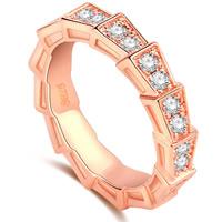 Кольца из латуни, Латунь, плакирование настоящим розовым золотом, разный размер для выбора & инкрустированное микро кубического циркония & Женский, не содержит никель, свинец, 4mm, продается PC