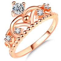 Кольца из латуни, Латунь, Корона, плакирование настоящим розовым золотом, разный размер для выбора & инкрустированное микро кубического циркония & Женский, не содержит никель, свинец, 11mm, продается PC