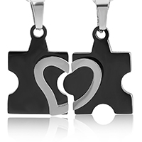 Ожерелье-пара, нержавеющая сталь, Другое покрытие, Овальный цепь & разные стили для выбора & для пара, Много цветов для выбора, длина:Приблизительно 20 дюймовый, продается указан