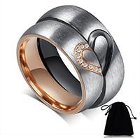 Пара кольца перста, нержавеющая сталь, с Бархат, Другое покрытие, для пара & со стразами, 6mm, продается Пара