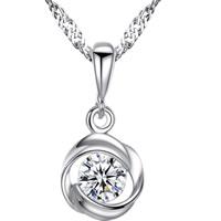 Серебряное ожерелье, Латунь, плакирован серебром, Сингапур цепь & Женский & со стразами, не содержит свинец и кадмий, 16x7mm, Продан через Приблизительно 15.5 дюймовый Strand