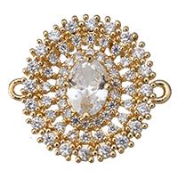 Цирконий Micro Pave Латунный разъем, Латунь, Форма цветка, плакированный настоящим золотом, инкрустированное микро кубического циркония & 1/1 петля & отверстие, 20x19x5.50mm, отверстие:Приблизительно 1mm, 20ПК/Лот, продается Лот