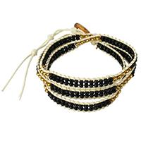 Завернутый браслет, Кристаллы, с Вощеная хлопок шнур & цинковый сплав, с 4Inch наполнитель цепи, плакирован золотом, регулируемый & Женский & 3-нить & граненый, цвет черного янтаря, не содержит никель, свинец, 7mm, 4mm, длина:Приблизительно 21 дюймовый, 10пряди/Лот, продается Лот