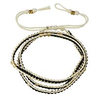 Завернутый браслет, Кристаллы, с Вощеная хлопок шнур & цинковый сплав, плакирован золотом, регулируемый & Женский & 3-нить & граненый, цвет черного янтаря, не содержит никель, свинец, 5mm, длина:Приблизительно 21-24 дюймовый, 10пряди/Лот, продается Лот