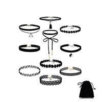 Готический ожерелье, Кружево, с шерстяной шнур, с 2.7inch наполнитель цепи, разные стили для выбора & Женский, длина:Приблизительно 12 дюймовый, продается указан