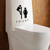 PVC-пластик Туалет стикер, клей & с письмо узором & водонепроницаемый, 160x100mm, продается указан