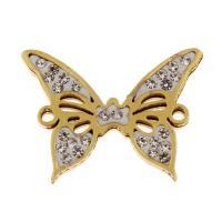 Соединители из нержавеющей стали, нержавеющая сталь, бабочка, плакирован золотом, со стразами & 1/1 петля, оригинальный цвет, 25x18.50x2.50mm, отверстие:Приблизительно 2mm, 10ПК/сумка, продается сумка