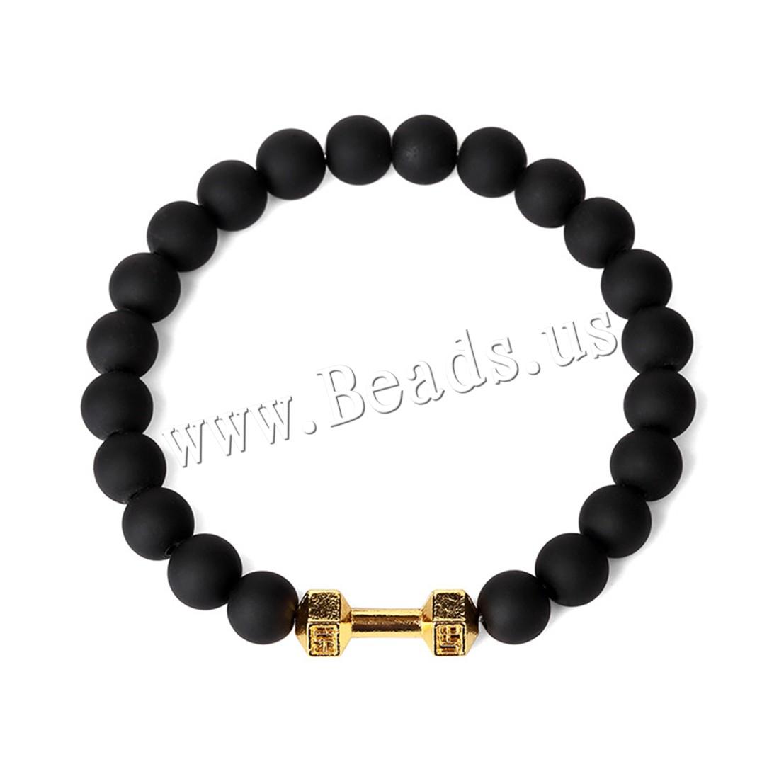 Unisex Bracelet Rubber Zinc Alloy gold color plated beaded bracelet 20x8mm 8mm Sold Per Approx 7.8 Inch Strand