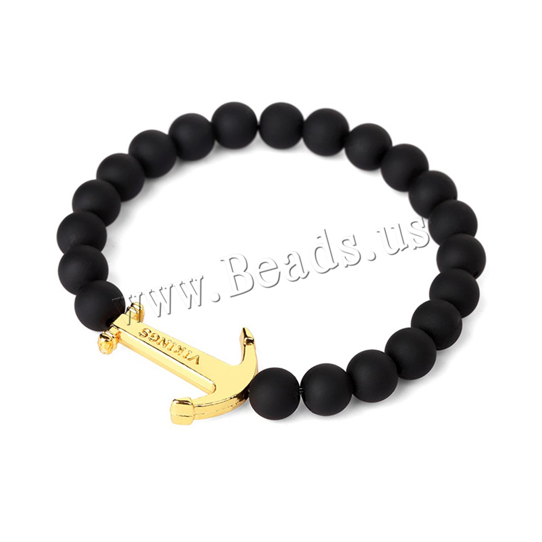 Buy Unisex Bracelet Rubber Zinc Alloy Anchor gold color plated beaded bracelet 25x20mm 8mm Sold Per Approx 7.8 Inch Strand