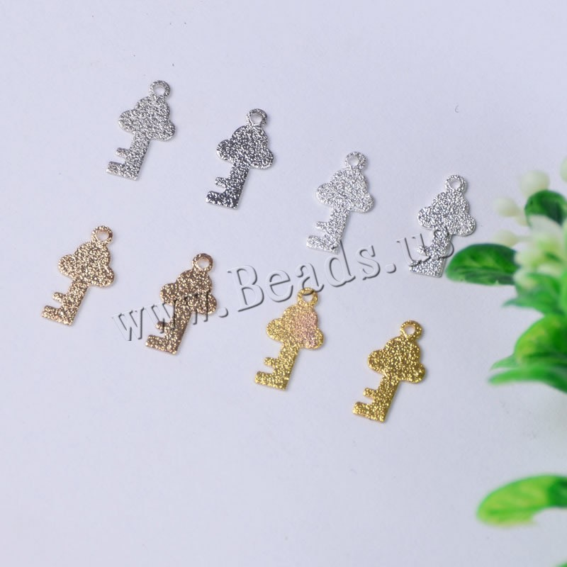 Buy Brass Jewelry Pendants Key plated frosted Random Color nickel lead & cadmium free 10.80x5.50x0.40mm Hole:Approx 1mm 400PCs/Bag Sold Bag