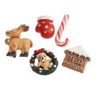 Рождественские Кабошоны, канифоль, Рождественские украшения & разнообразный & ровный цвет, 21x20x3mm-32x22x5mm, 10ПК/сумка, продается сумка