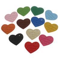 Искусственная кожа подвеска, Сердце, с письмо узором, Много цветов для выбора, 28x30x3mm, отверстие:Приблизительно 1mm, 100ПК/сумка, продается сумка