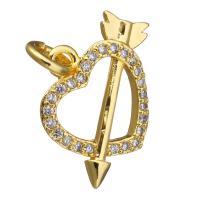 Цирконий Micro Pave латунь подвеска, Латунь, Сердце, плакированный настоящим золотом, инкрустированное микро кубического циркония, 16x13x3mm, отверстие:Приблизительно 3mm, 20ПК/Лот, продается Лот