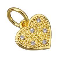 Латунь Подвеска-Европейская стиль, Сердце, плакированный настоящим золотом, инкрустированное микро кубического циркония & без Тролль, 12x11.50x2mm, отверстие:Приблизительно 5mm, 30ПК/Лот, продается Лот